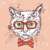 Hipster cat — Stock Vector