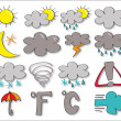 Stock Photo: Set of drawing icon - weather