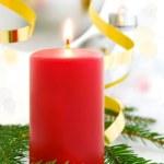 Rode kaars, Kerstmis achtergrond — Stockfoto