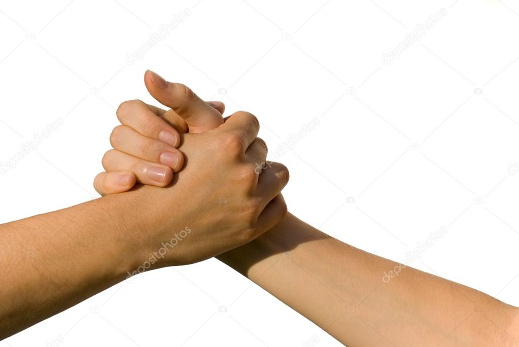 A handshake between two young , on white — Stock Photo #19208039