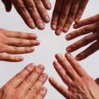 Hands symbolizing team — Stock Photo