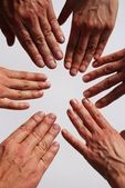 Mani che simboleggia la squadra — Foto Stock