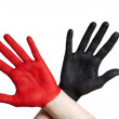 Two painted hands — Stock Photo