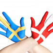 Danish and swedish hands — Stock Photo #22577691