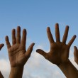 Four hands waving — Stock Photo #23734933
