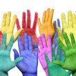 Many colorful hands — Stock Photo #23734983