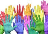 Många färgglada händer — Stockfoto