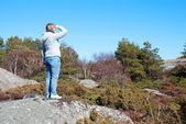 Person on the outlook in the nature — Stock Photo