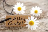 Natural looking label with Alles Gute! — Stock Photo