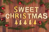 Sweet christmas with sweets as decoration — Stock Photo