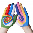 Colorful hands with smiling fingers — Stock Photo