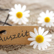 Natural looking label with Auszeit — Stock Photo