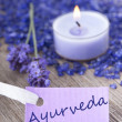 Stock Photo: Ayurvedon purple label