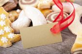 Cookies with golden label — Stock Photo