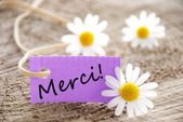 Purple Label with Merci — Stock Photo