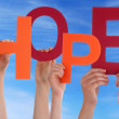 Hands Holding Hope in Front of the Sky — Stock Photo