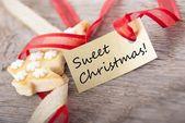 甘いクリスマスでゴールデン バナー アニメ広告 — ストック写真
