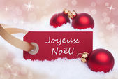 Red Banner With Joyeux Noel — Stock Photo