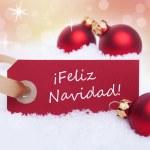 Red Tag With Feliz Navidad — Stock Photo