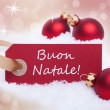 Red Label With Buon Natale — Stok fotoğraf