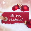 Red Label With Buon Natale — Stock Photo