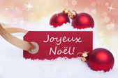 Label with Joyeux Noel — Stock Photo