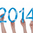 Many People Holding Snowy 2014 — Stock Photo