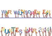 Many Hands Holding Wir Wuenschen Ein Buntes Jahr 2014 — Stock Photo