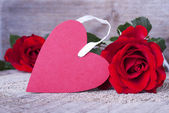 Etiqueta de corazón rojo — Foto de Stock