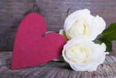 Red Heart with White Roses — Stock Photo