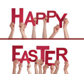 Hands Holding Happy Easter — Stock Photo
