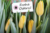 Label with Frohe Ostern — Stock Photo
