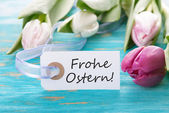 Tag with Frohe Ostern — Stock Photo