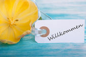 Label with Willkommen — Stock Photo