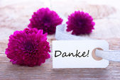 Label with Danke — Stock Photo