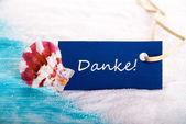 Sea Tag with Danke — Stock Photo