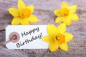 Label with happy Birthday — Stock Photo