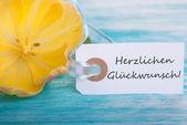 Label with Herzlichen Glueckwunsch — Stock Photo
