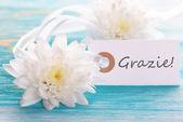 Label with Grazie — Stock Photo