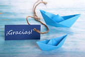 Label with Gracias and Boats — Foto Stock