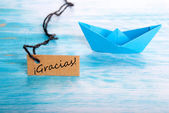 Label with Gracias and a Boat — Foto Stock
