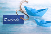 Label with Danke and a Boat — Stock Photo