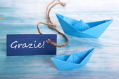 Label with Grazie and Boats — Stock Photo