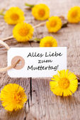 White Tag with Alles Liebe zum Muttertag — Stock Photo