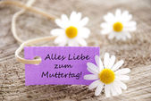 Purple Label with Alles Liebe Zum Muttertag — Stock Photo