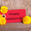 Red Tag with Happy Weekend — Stock Photo