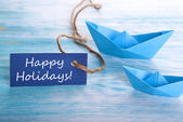 Blue Banner with Happy Holidays — Stock Photo