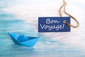 Blue Label with Bon Voyage — Stock Photo