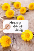 Tag with Happy 4th of July — Stock Photo