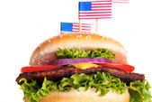 Hamburger with American Flags — Stock Photo